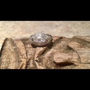 Jewelry - Beautiful Silver-Tone Cubic Zirconia Cocktail Ring
